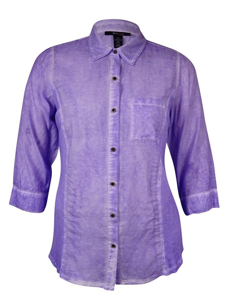 Style & Co. Women's Knit-Sides Semi-Sheer Cotton Blend Shirt (0X, Iris Moon)