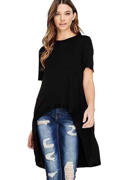 4e106fb84a05da Annabelle Women s Short Sleeve Hi Low Flare Hem T Shirt Tunic Tops Black  Medium T1178