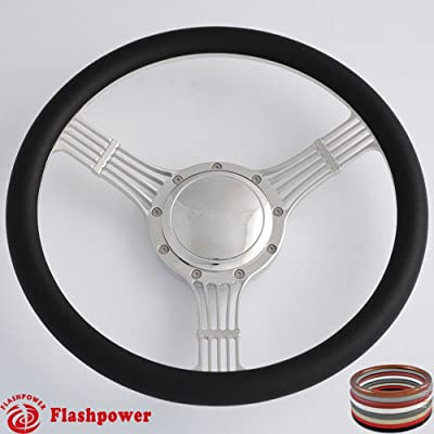 Flashpower 14'' Billet Banjo Half Wrap 9 Bolts Steering Wheel with 2'' Dish and Horn Button (Black): Automotive