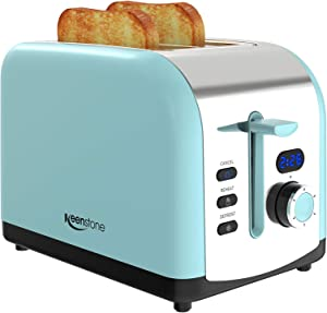 Toaster 2 Slice, Keenstone Stainless Steel Retro Toaster with Timer, Wide Slot, Defrost/Reheat/Cancel Fuction, Removable Crumb Tray, Blue