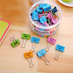 Coideal 40 Pack 19mm Smiling Binder Paper Clips/Mini Colored Metal Foldback Fun Clip Clamps with Cute Hollow Smile Face for Pictures Photos, Food Bags, Assorted Color (0.75 inch, Small)