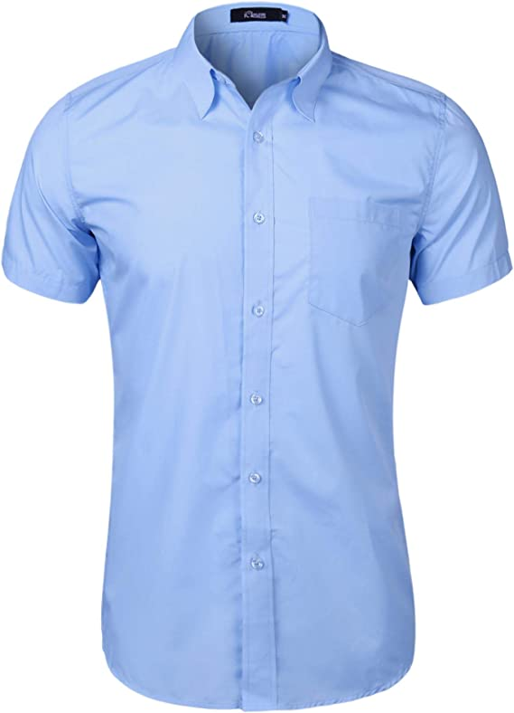 iClosam Camiseta Hombre Manga Corta,Camisa Hombre, Color SóLido,con Botones