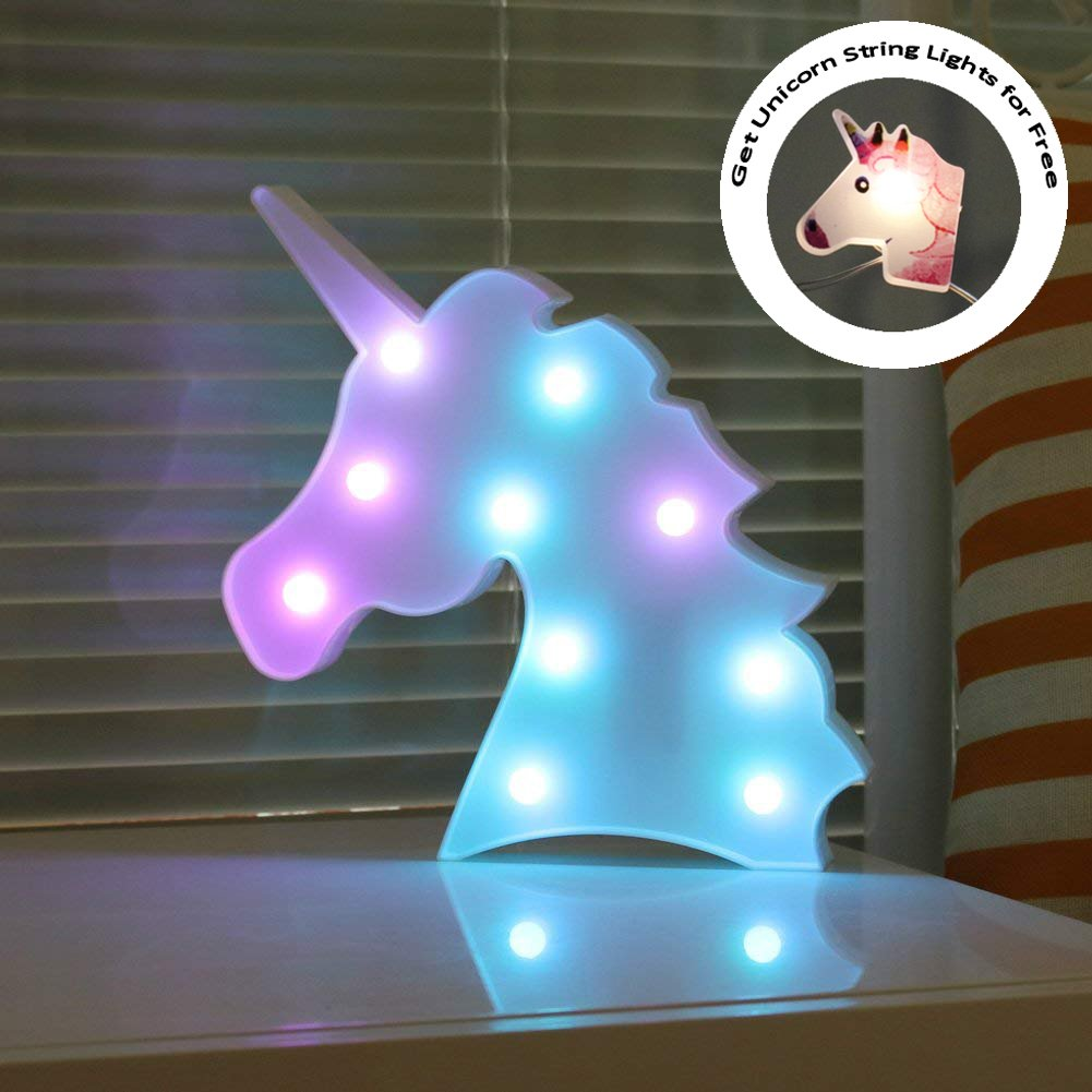 DELICORE Color Changeable Unicorn Marquee Signs Unicorn Party Supplies, Fantasy Themed Wall Decor Desk Table Lamp Gift for Child Kids Baby Girls Bedroom Birthday (Unicorn Head - Colorful)
