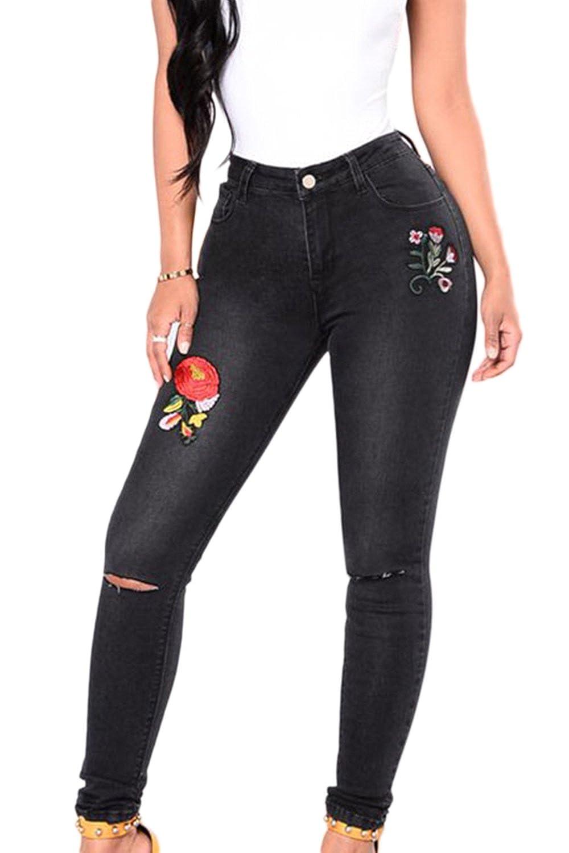Les Femmes Des Pantalons Jeans Pantalon Legging Brodé Élastique Solide