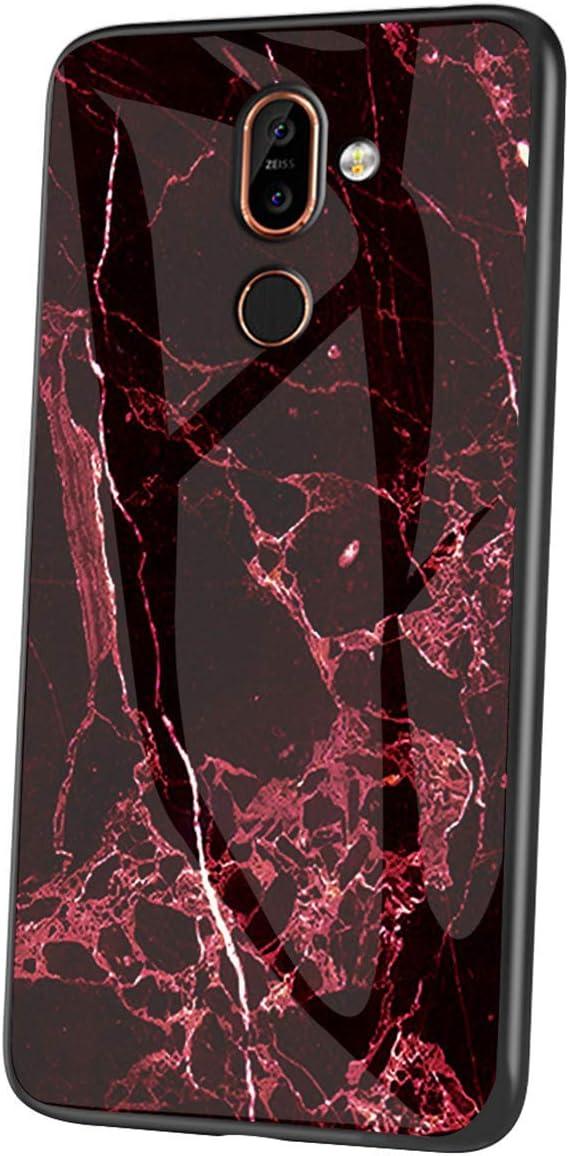 JAWSEU Kompatibel mit Nokia 7 Plus H/ülle Marmor Muster Geh/ärtetes Glas Handyh/ülle R/ückschale mit Silikon H/ülle TPU Bumper Schutzh/ülle Sto/ßfest Glash/ülle Case Tasche f/ür Nokia 7 Plus,Wei/ß
