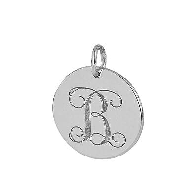 c78c7dafa08406 Amazon.com: Soul Jewelry Dainty 1/2 Inch Round Disc Charm Pendant Solid 14K  White Gold Monogram Initial Deep Laser Engraved GC05 (0): Jewelry
