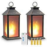 """zkee 13"""" Vintage Style Lantern,Flickering Flame Effect Tabletop Lantern(Black,Remote Timer and Batteries Included…"""