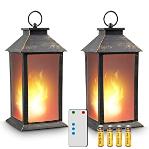 "zkee 13"" Vintage Style Lantern,Flickering Flame Effect Tabletop Lantern(Black,Remote Timer and Batteries Included) Indoor/Outdoor Hanging Lantern,Decorative Candle Lantern (Set of 2)"