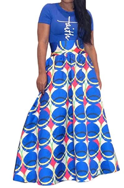 DressUWomen De gran tamaño de impresión africana ajustado de falda ...