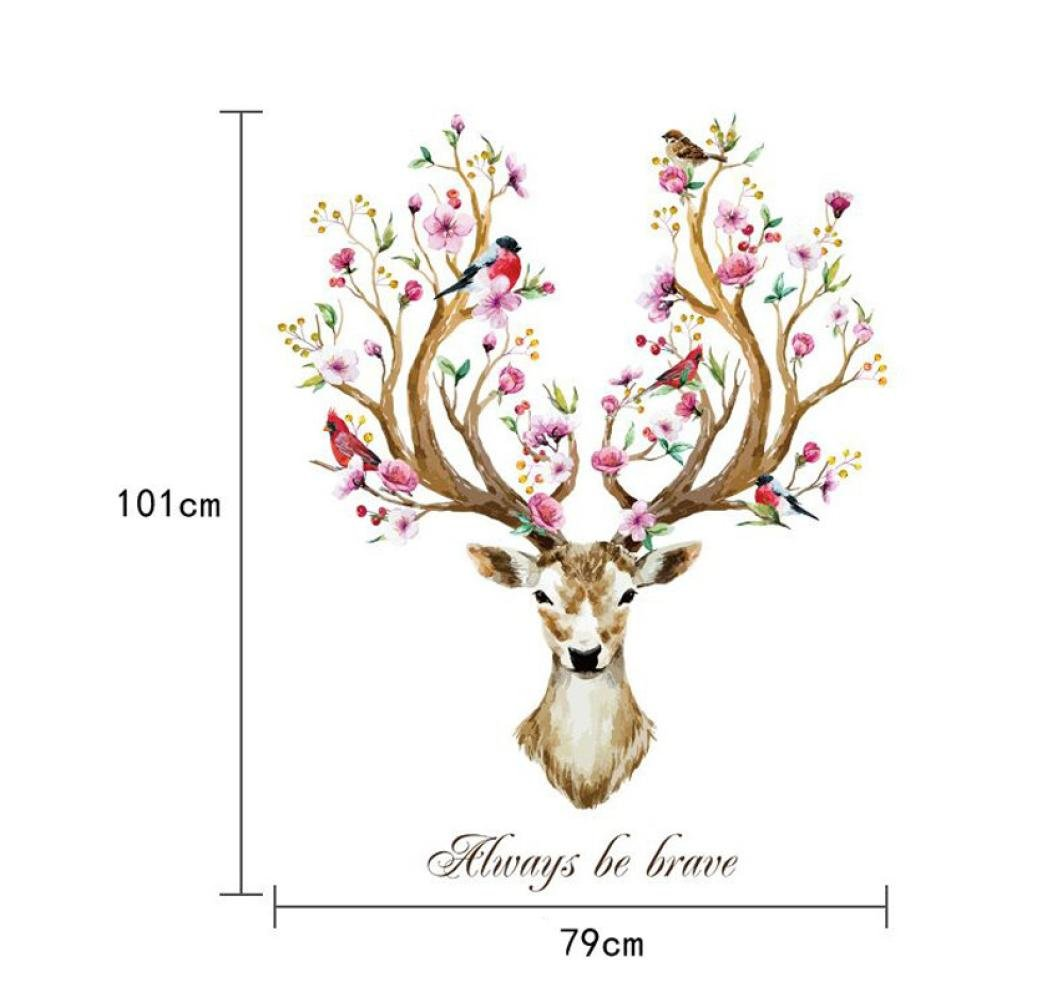 Covermason Always Be Brave Decal Sika Deer Decorative Creative Removable Wall Stickers For Home Office Chirstmas Decor (Sika Deer)