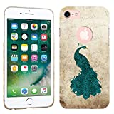 iPhone 7 Case / iPhone 8 Case - Vintage Teal Peacock Hard Plastic Back Cover. Slim Profile Cute Printed Designer Snap on Case by Glisten