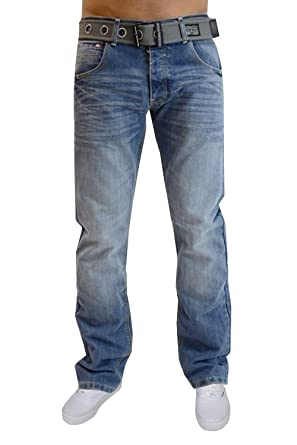 682404a22a Crosshatch Mens Jeans New Stone Washed Straight Leg Denim Pants Belt  Included  Amazon.co.uk  Clothing