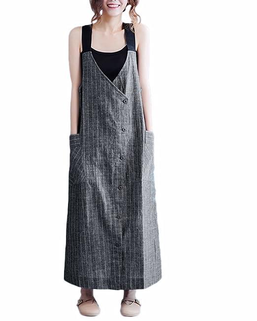 3e73d2ac3e VONDA Women s Casual Striped Button Jumpsuits Dungarees Loose Long Maxi  Dress Black S
