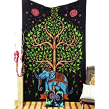 Montreal Tapessier GREEN Elephant Tree Hippy Tapestry,Gypsy bedsheet,wall hanging,picknic blanket,bed throw, Wall decal new age Dorm tapestry,Hippy tapestry tapestries from canada,Multicolor balck tie dye