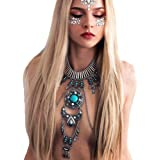 KissYan Boho Statement Turquoise Necklace Dancer Necklace Crossover Harness Bikini Waist Belly Sexy Body Chains for…