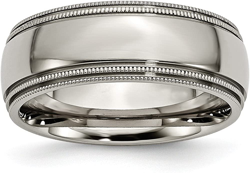 Sonia Jewels Titanium Grooved and Beaded Edge 8mm Polished Wedding Band