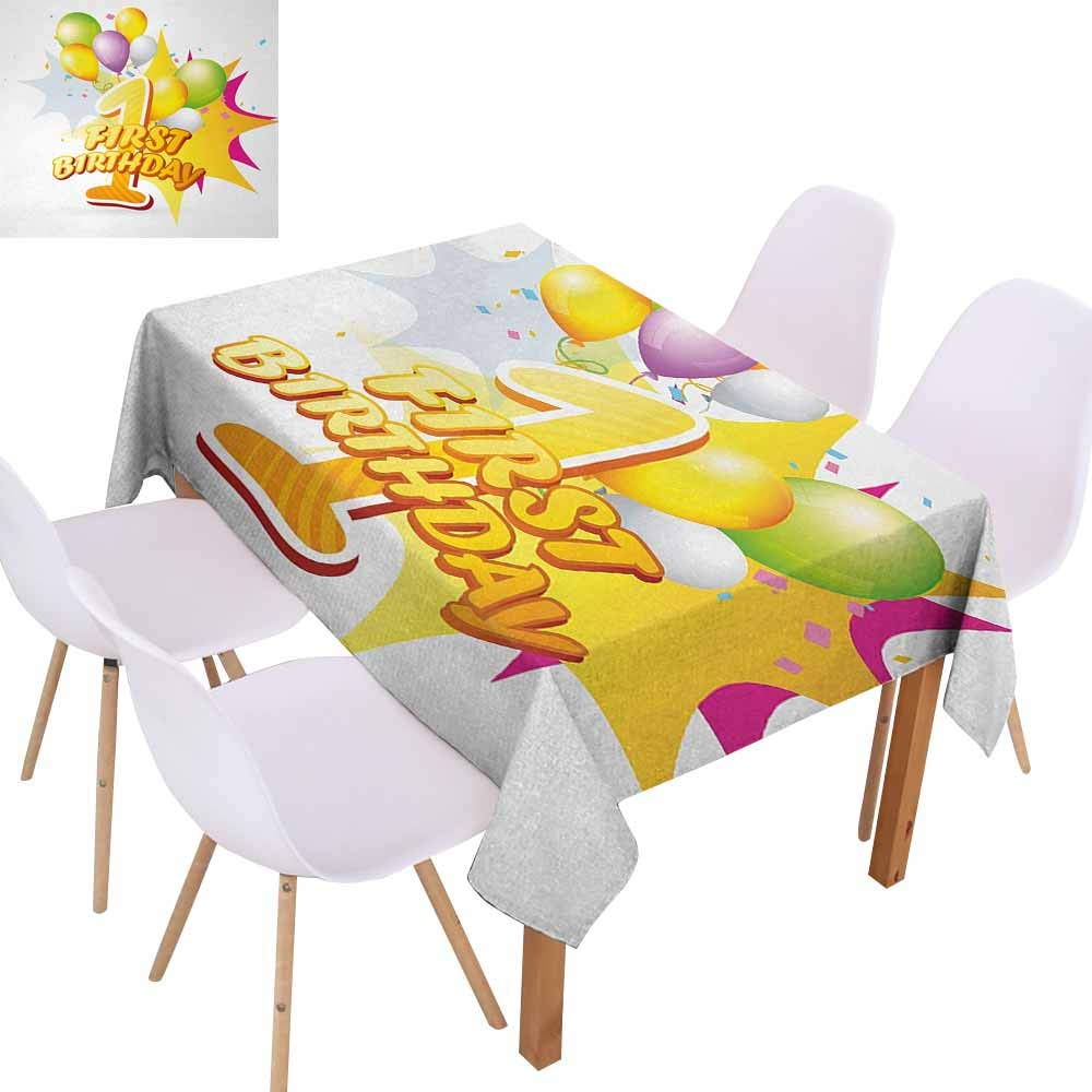 UHOO2018 1st Birthday,Rectangle Table Cloth,First Celebration Event Excitement for Baby with The Party Balloons,Stain Resistant, Wrinkle Resistant,Hot Pink and Yellow,60''x102''