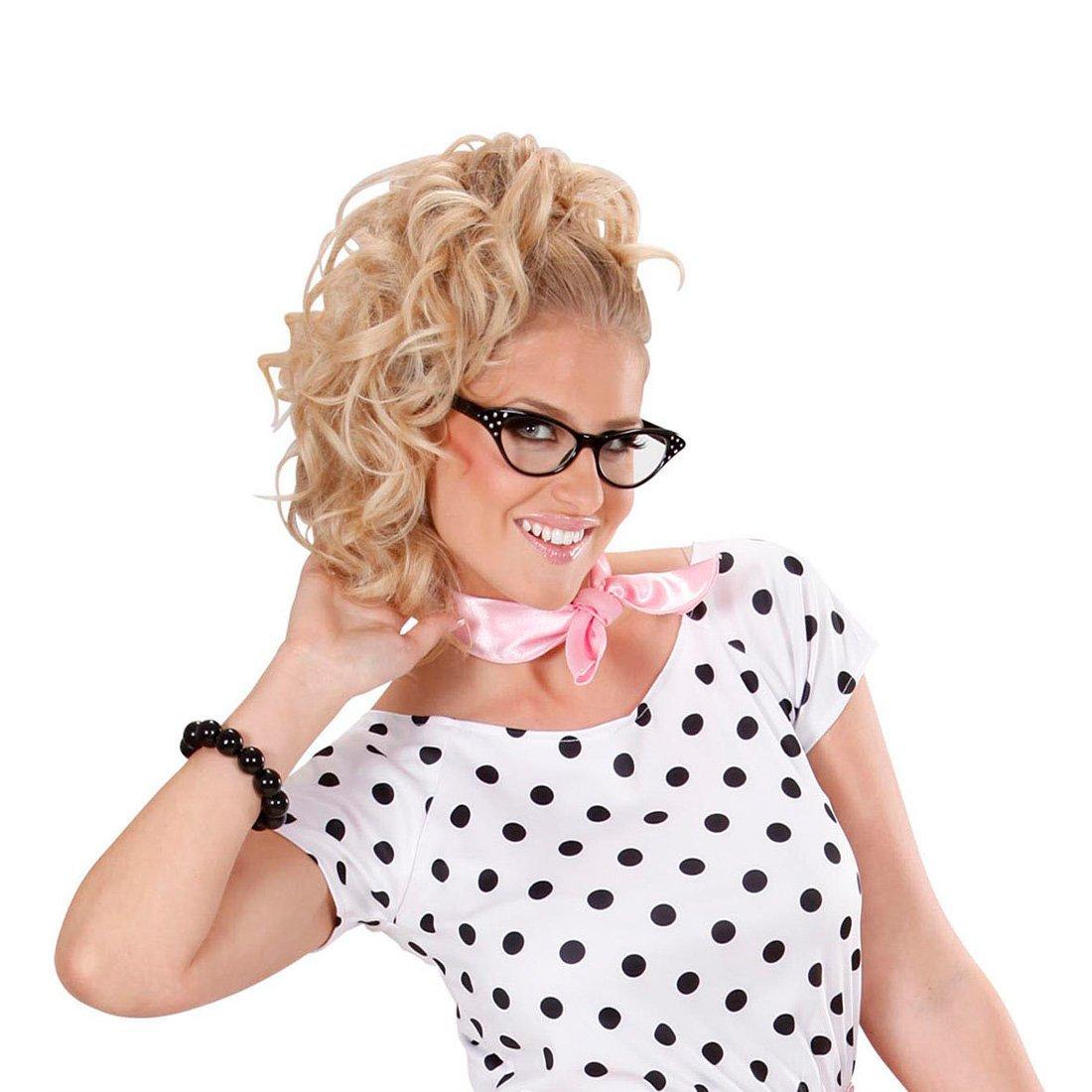 Rockabilly Brille 50er Jahre Gläser schwarz Strass Diva Partybrille ...
