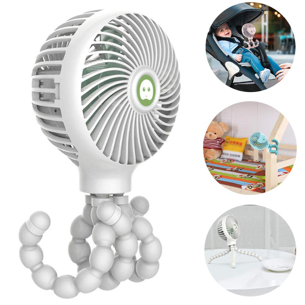 lesgos Baby Stroller Fan, USB Rechargeable Handheld Fan with Flexible Tripod Fix On Stroller/Student Bed/Bike, 3 Speeds Setting Mini Desk Fan for Office Room Car Traveling BBQ Gym by lesgos