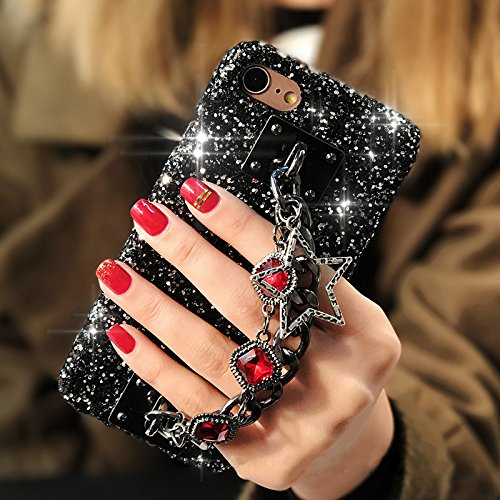 iPhone 8 Plus Case,iPhone 7 Plus Case,ikasus Star Gem Chain Pendant 3D Handmade Luxury Sparkle Bling Diamonds Rhinestones Full Crystals Bling Diamond Case for iPhone 8 Plus / 7 Plus Diamond Case,Red