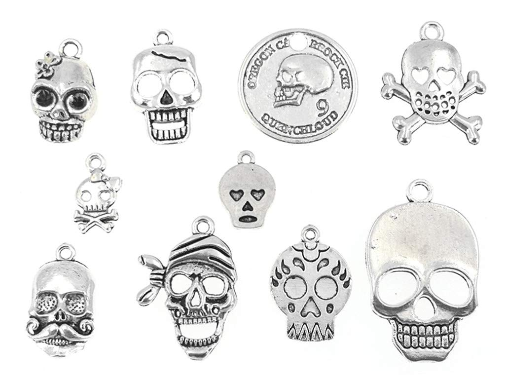 30pcs Tibetan Silver Skull Skeleton Body Halloween Charms Pendants DIY Craft