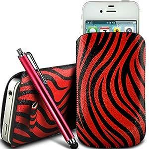 Online-Gadgets UK - Samsung Galaxy Fame protección PU Zebra Diseño deslizamiento cordón tirador de la cremallera en la caja de la bolsa con cierre rápido y grande Stylus Pen - Rojo