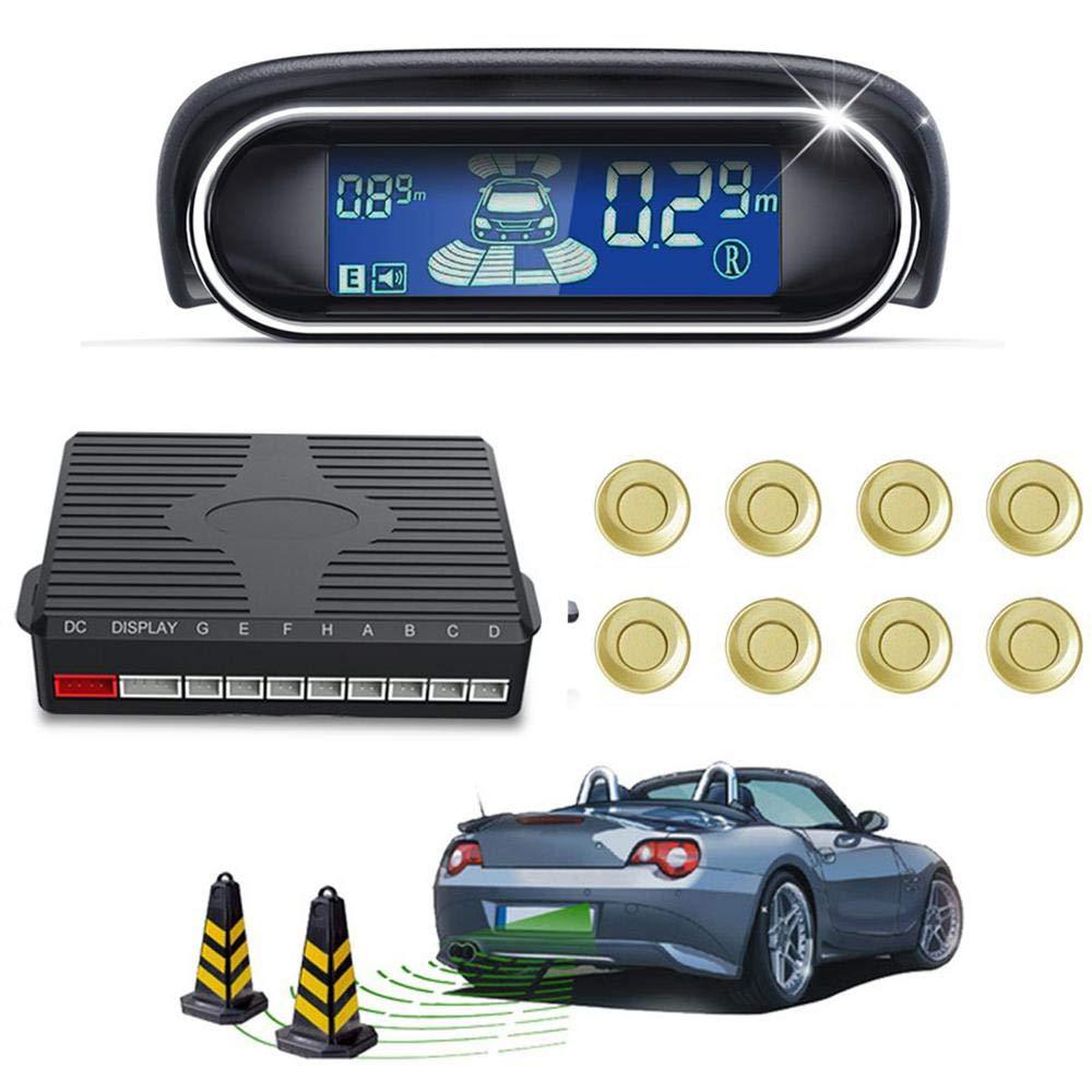 FOONEE Backup Radar System - Black LCD Anti-collision Wireless Parking Sensor Kit High Sensitivity Car Monitor Parking 8 Sensors for Universal Car 22Pcs Voice Dual-core