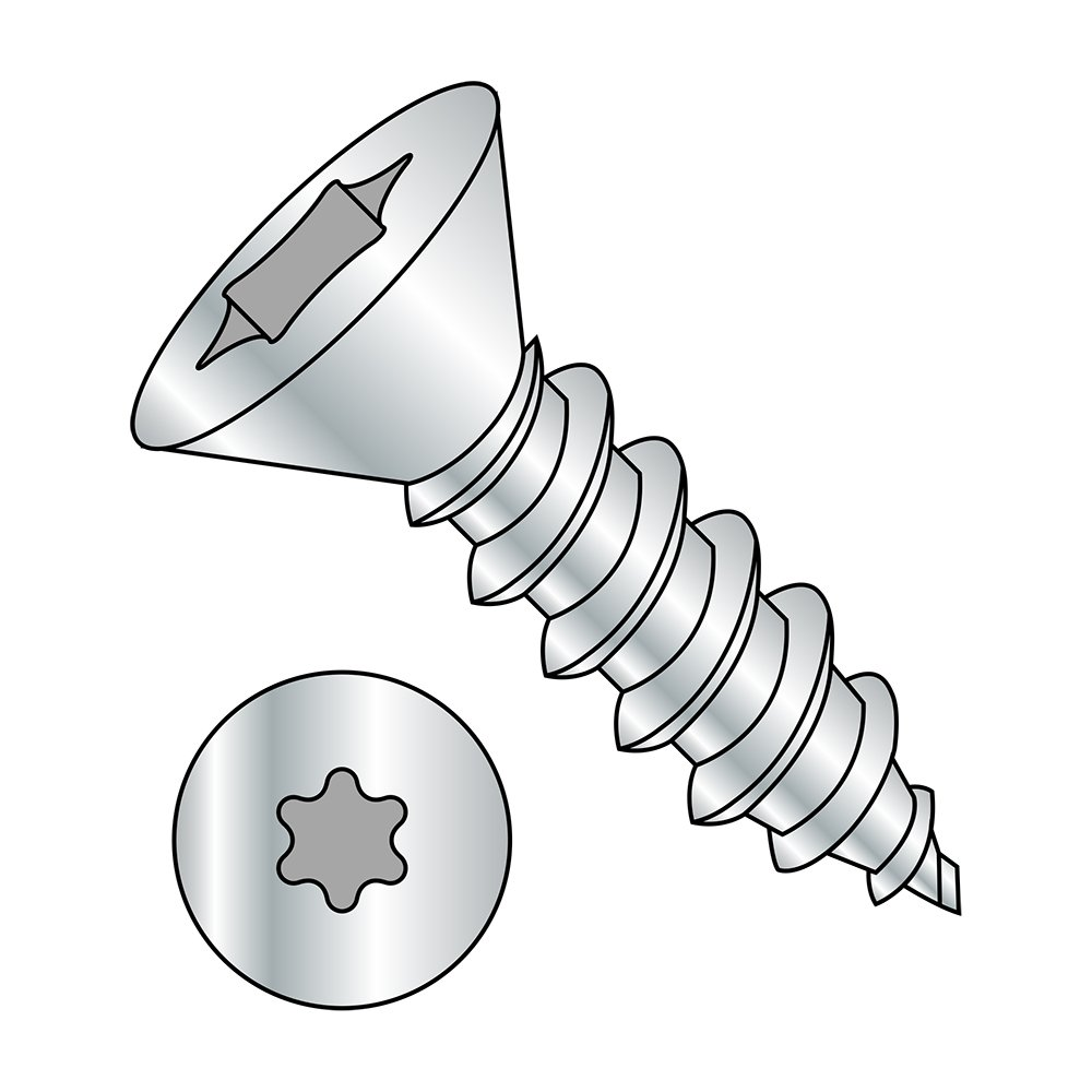 Steel Sheet Metal Screw Zinc Plated Star Drive 1 Length #8-18 Thread Size 82 degrees Flat Head Type AB Pack of 100