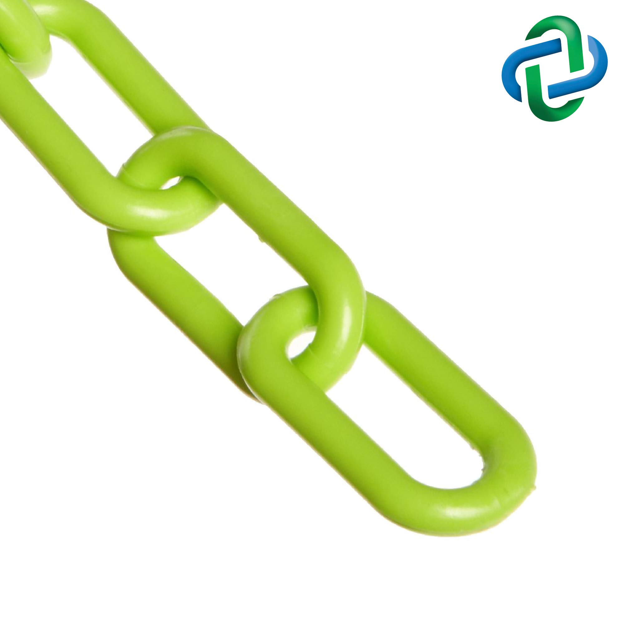 Mr. Chain Plastic Barrier Chain, Safety Green, 2-Inch Link Diameter, 25-Foot Length (50014-25) by Mr. Chain