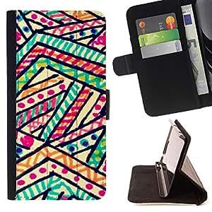 BullDog Case - FOR/Samsung Galaxy S4 Mini i9190 / - / polygon lines pattern stripes marker /- Monedero de cuero de la PU Llevar cubierta de la caja con el ID Credit Card Slots Flip funda de cuer