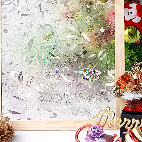 Homein Window Films 3D Flowers Film Decoration For Window Privacy Film Static Non-Adhesive Heat Control Anti UV 17.7In. By 78.7In. (45 x 200Cm) (Mirrored Own Make Furniture Your)