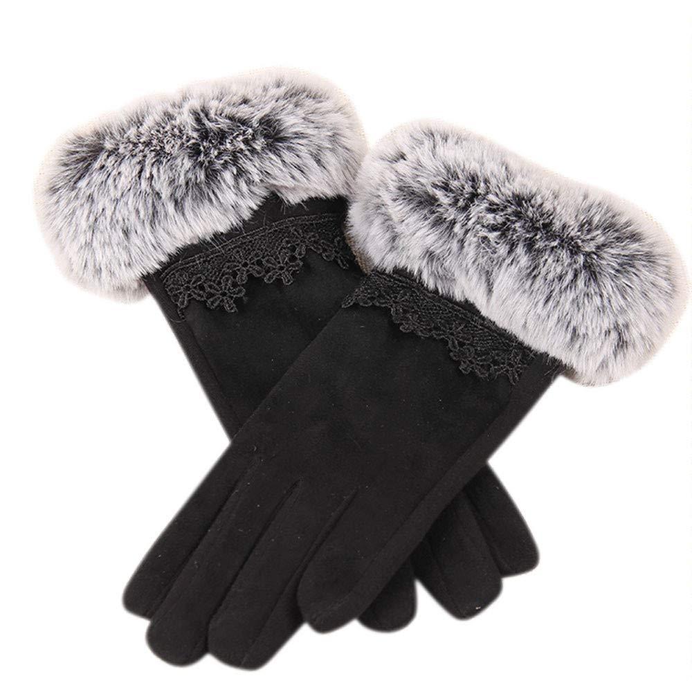 Zolimx Handschuhe Damen Winterhandschuhe Touchscreen Pelzspitze Handschuh Fahrradschuhe Geschenke Winter Warme Screen Riding Drove Outdoor Gloves f/ür Frauen