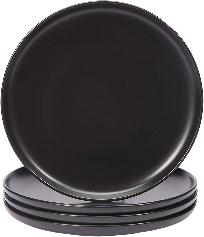 10-Inch Large Elegant Round Serving Plate Set Perfect for Steak Set of 6 BonNoces Matte Black Porcelain Dinner Plate Dessert and Salad Pasta