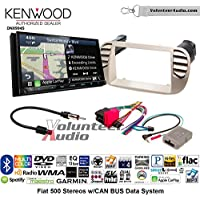 Volunteer Audio Kenwood Excelon DNX994S Double Din Radio Install Kit with GPS Navigation Apple CarPlay Android Auto Fits 2012-2015 Fiat 500 (White)