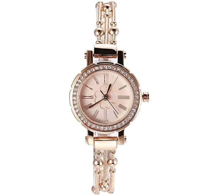 Reloj para mujer Pulsera de tendencia de moda Pulsera de acero con reloj de pulsera de cuarzo Rhinestone Mujer: Amazon.es: Relojes