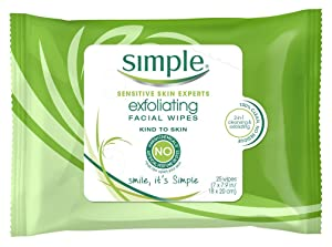 Simple Exfoliating Facial Wipes 25 Count (2 Pack)