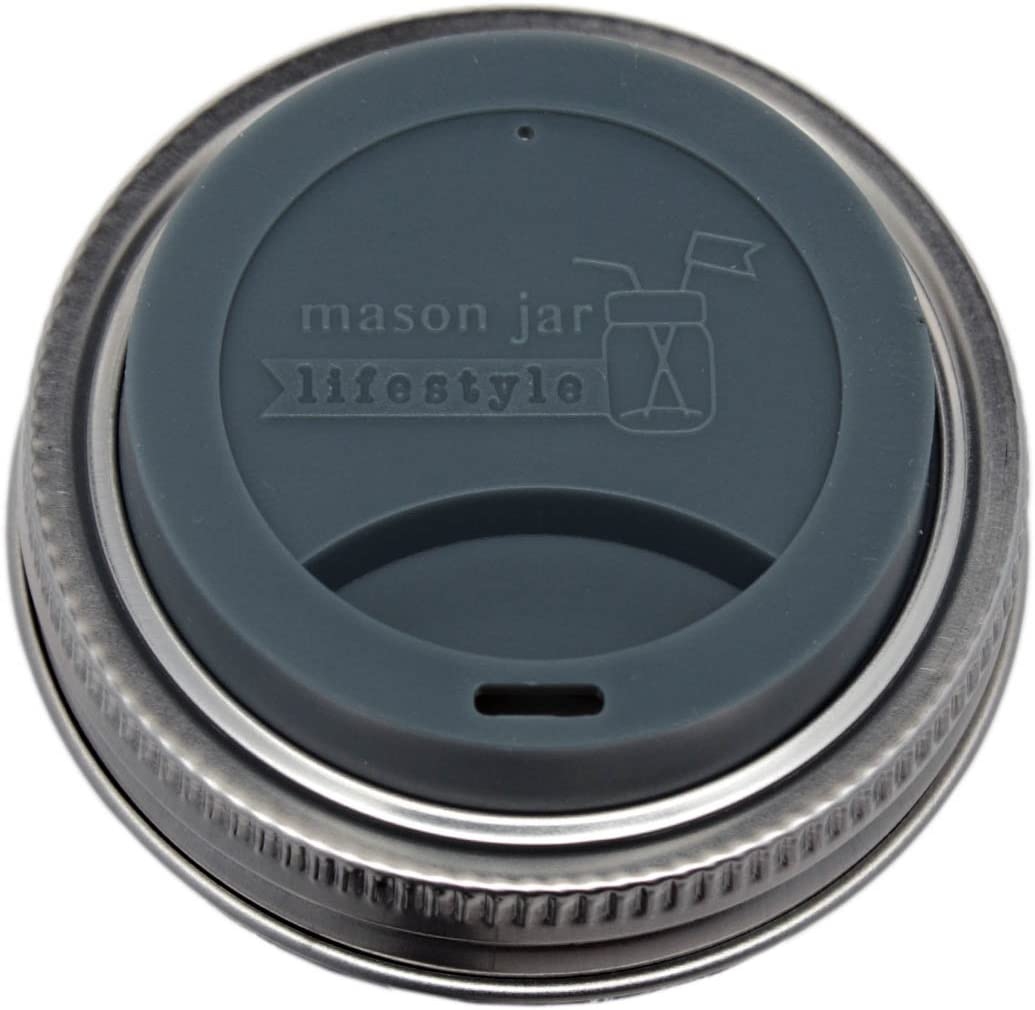 MJL Silicone Drinking Lids with Stainless Steel Bands for Mason Jars (2 Pack, Charcoal Gray, Regular Mouth)
