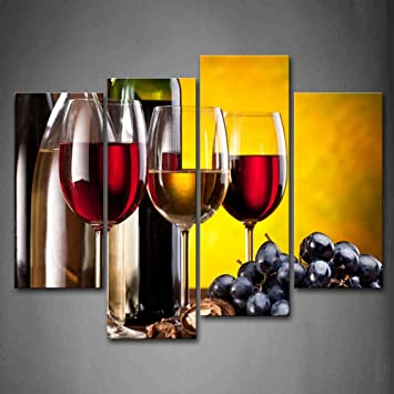 Amazon.com: Grape Wine With Cup Wall Art Painting The Picture Print ...