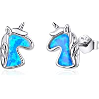 VOROCO 925 Sterling Silver Colorful CZ Opal Cute Unicorn Stud Hypoallergenic Earrings Gifts for Girls