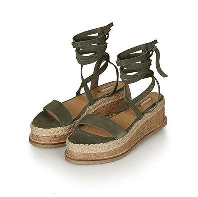 Damen Peep-Toe Sandalen Komfortable Atmungsaktive Sandalen Kreuzgurt Schuhe Schwarz/Grün Größe 34-39 (Farbe : Schwarz, Größe : 37) MYI