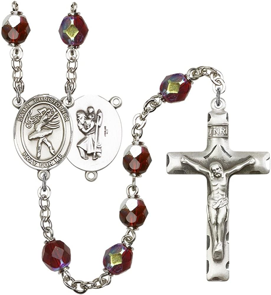 The Crucifix measures 1 3//4 x 1 Patron Saint Travelers//Motorists The centerpiece features a St Silver Plate Rosary features 7mm Garnet Lock Link Aurora Borealis beads Christopher//Dance medal