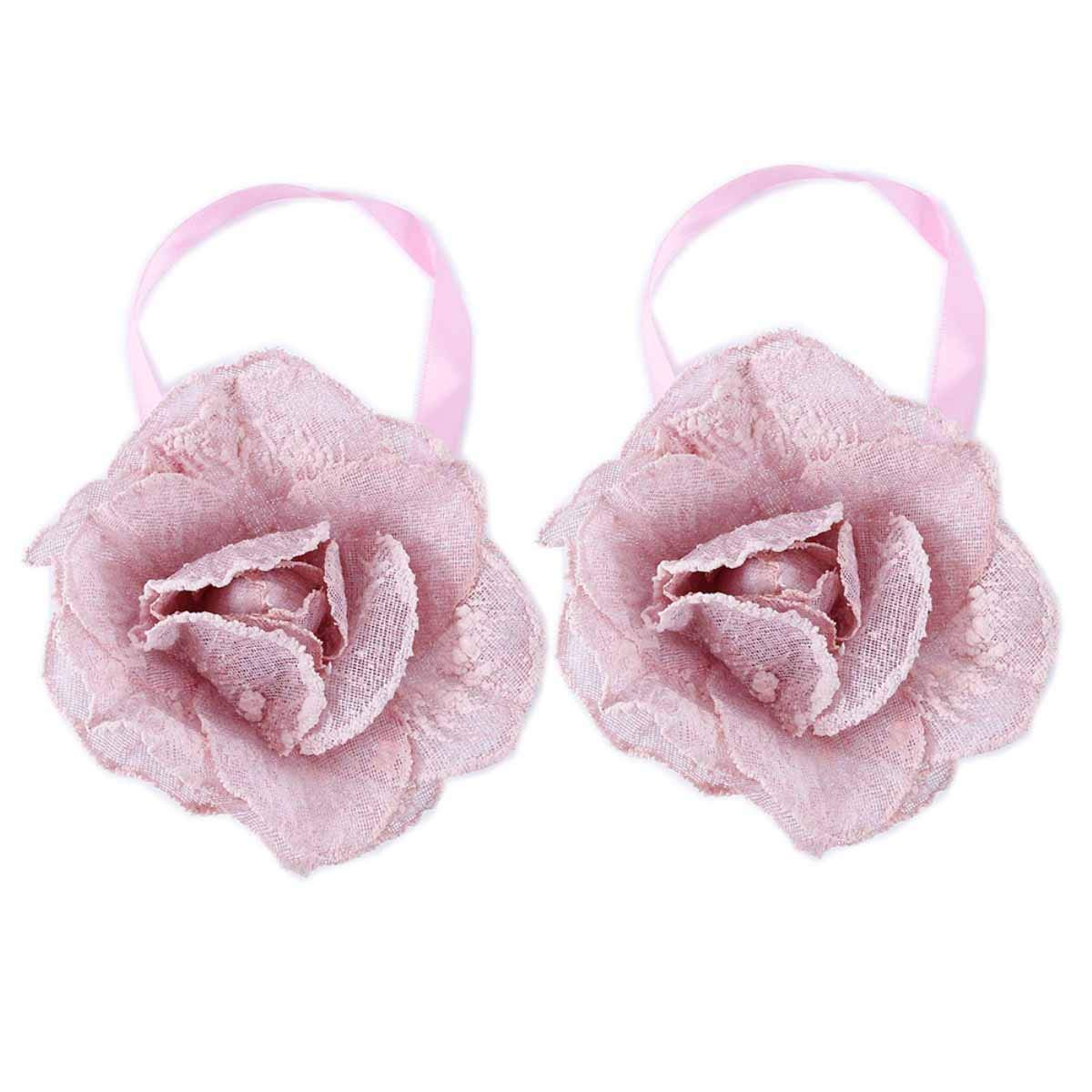YING CHIC YYC 2Pcs Flower Magnetic Curtain Buckle Tieback Drapey Holder Girl's Room Decor (Pink)