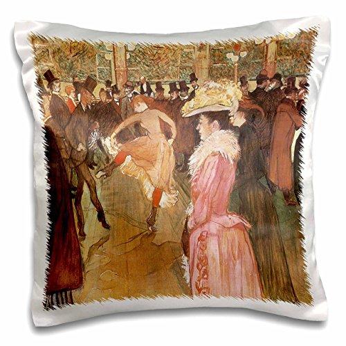 3dRose pc_127374_1 Ball at The Moulin Rouge x Henri De Toulouse-Lautrec Pillow Case, 16