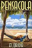 Pensacola, Florida - Palms and Hammock (9x12 Collectible Art Print, Wall Decor Travel Poster)