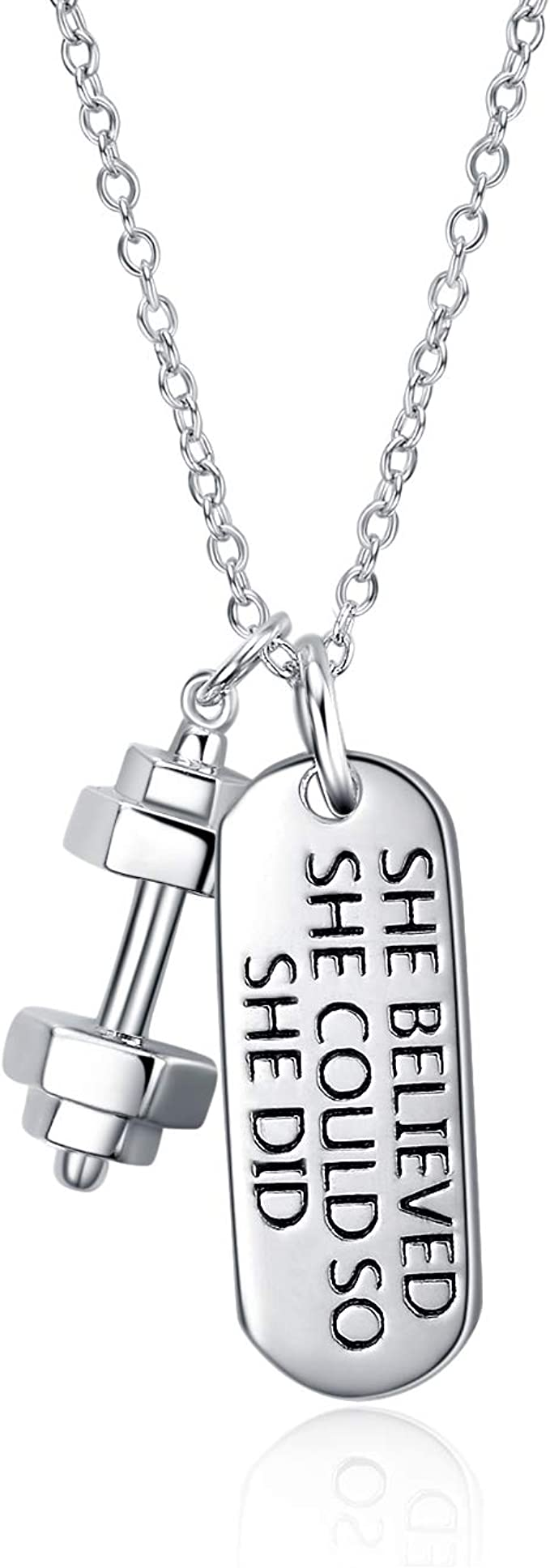 CROSSFIT KETTLEBELL Gym /'I Choose Strength/' STERLING SILVER BOX CHAIN Necklace