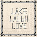 Ideal Home Range 20 Count 3-Ply Paper Cocktail Napkins, Lake Laugh Love