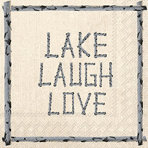 (Ideal Home Range 20 Count 3-Ply Paper Cocktail Napkins, Lake Laugh Love)