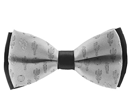 1 Tuxedo Solid Color Bow Ties for Boys Silver