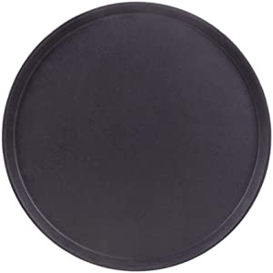 "Round Black Plastic Serving Tray with No-Slip Rubber Safety Lining | Commercial Restaurant & Diner Quality Food, Coffee, Drink Waiter Carrying Tray | 11"", 14"", 18"" (14-inch)"