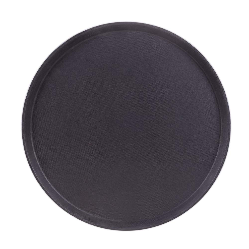 "Round Black Plastic Serving Tray with No-Slip Rubber Safety Lining | Commercial Restaurant & Diner Quality Food, Coffee, Drink Waiter Carrying Tray | 11"", 14"", 18"" (11-inch)"